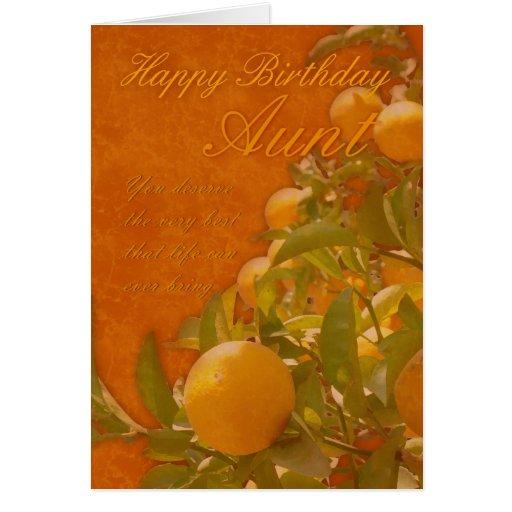 Aunt Happy Birthday Spanish Orange Tree, burnt ora Cards