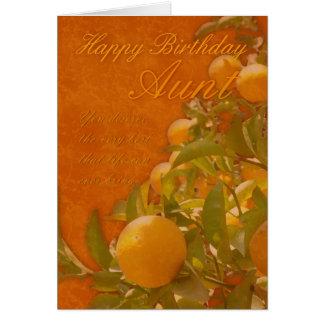Aunt Happy Birthday Spanish Orange Tree, burnt ora Greeting Card