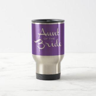Aunt of Bride White on Purple 15 Oz Stainless Steel Travel Mug