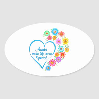 Aunt Special Heart Oval Sticker