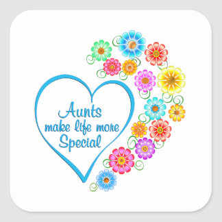 Aunt Special Heart Square Sticker