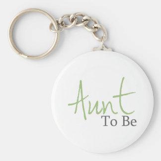 Aunt To Be (Green Script) Basic Round Button Keychain