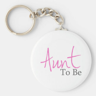 Aunt To Be (Pink Script) Basic Round Button Keychain