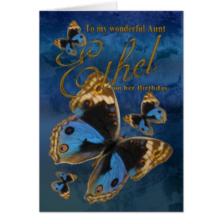 Auntie Ethel Birthday Card With Butterflies