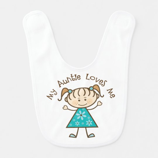 Auntie Loves Me Baby Girl Stick Figure Bib