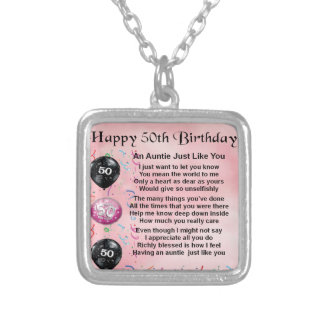 Auntie Poem - 50th Birthday Silver Plated Necklace