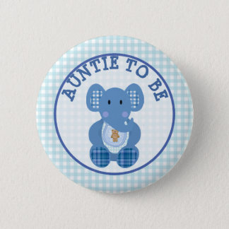 Auntie to Be Baby Shower button Blue Elephant