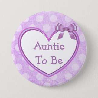 Auntie to be Purple Baby Shower Button