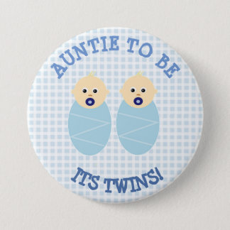 Auntie to Be Twin Boys Blue Baby Shower Button