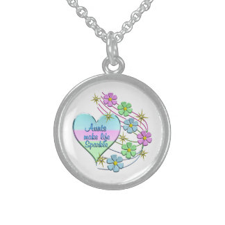 Aunts Make Life Sparkle Sterling Silver Necklace