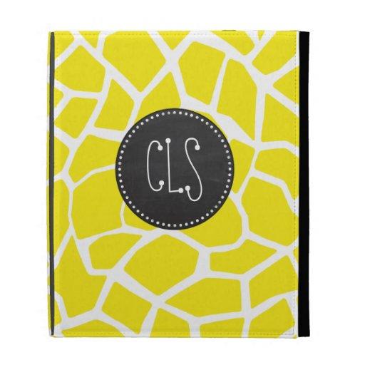 Aureolin Yellow Giraffe; Chalkboard look iPad Case