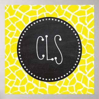 Aureolin Yellow Giraffe Chalkboard look Posters