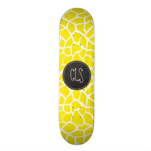 Aureolin Yellow Giraffe; Chalkboard look Custom Skate Board