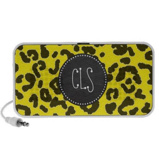 Aureolin Yellow Leopard Animal Print; Chalkboard Notebook Speakers