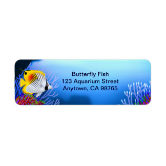 Auriga Threadfin Butterfly Fish Customizable Label Return Address Label