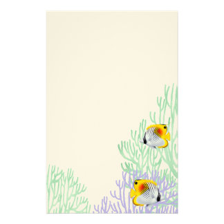 Auriga Threadfin Butterfly Fish in Corals Stationery Design