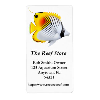 Auriga Threadfin Butterfly Fish Label Shipping Label