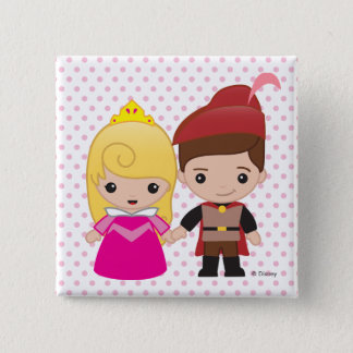 Aurora and Prince Philip Emoji 2 Inch Square Button