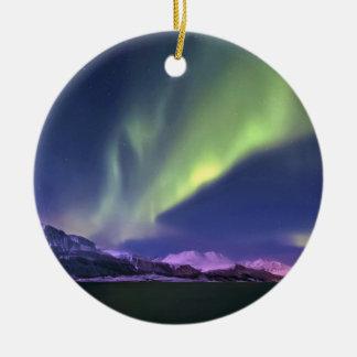 Aurora Borealis above Lyngenfjorden Norway Round Ceramic Ornament