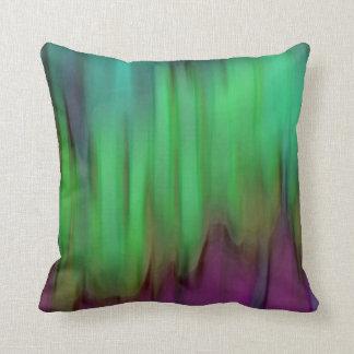 Aurora Borealis Abstract Green Throw Pillow