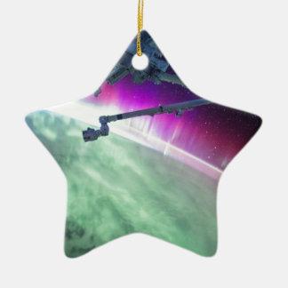 Aurora Borealis from space Ceramic Star Ornament