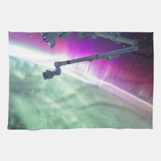 Aurora Borealis from space Kitchen Towels