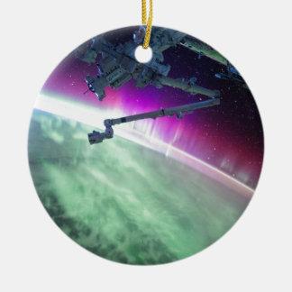 Aurora Borealis from space Round Ceramic Ornament