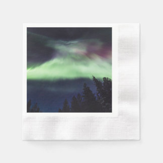 Aurora borealis in Finnish Lapland Disposable Napkins