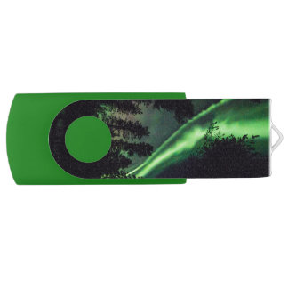 Aurora borealis in Finnish Lapland USB Flash Drive
