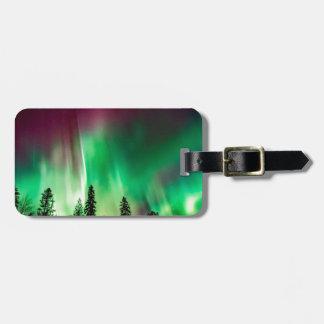 Aurora borealis northern lights luggage tag