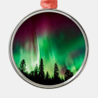 Aurora borealis northern lights metal ornament