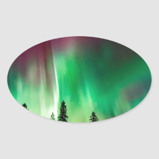 Aurora borealis northern lights oval sticker