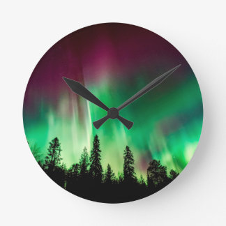 Aurora borealis northern lights round clock