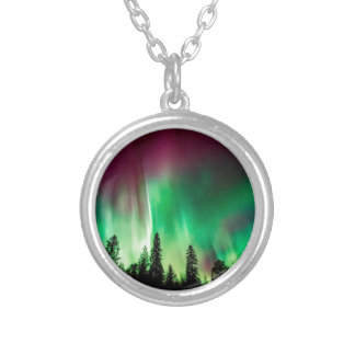 Aurora borealis northern lights silver plated necklace