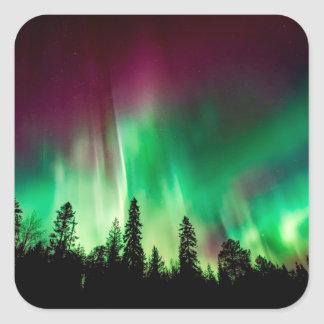 Aurora borealis northern lights square sticker