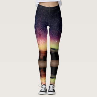 Aurora Borealis Northern Lights & stars Leggings