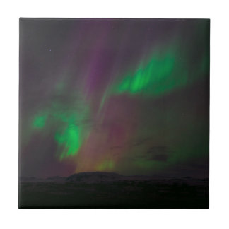 Aurora Borealis Northern Lights Trees Nature Lands Tile