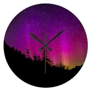 Aurora Borealis Spectacular Colors Acrylic Large Clock