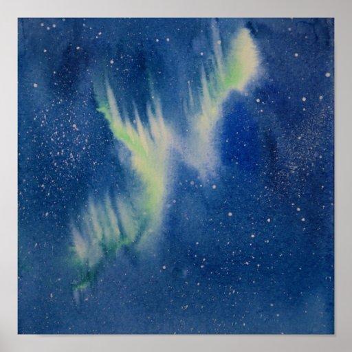 Aurora Borealis watercolor painting Poster