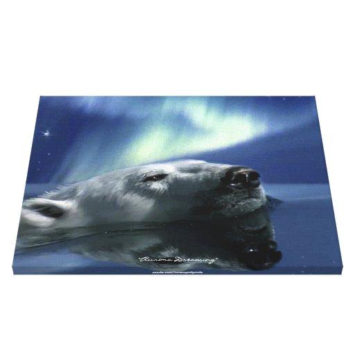 """AURORA DREAMING"" Swimming Polar Bear Print Stretched Canvas Print"