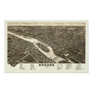 Aurora, IL Panoramic Map - 1882 Poster