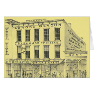 Aurora Illinois Aurora Beacon News 1871 Stone Lith Card
