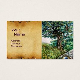 AURORA / MAGIC TREE, green, blue,parchment Business Card