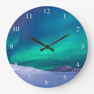 Aurora Northern Lights Small Numbers Large Clock