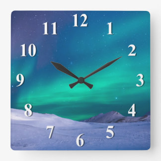 Aurora Northern Lights Square Wall Clock