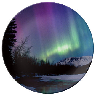 Aurora over Mountain Porcelain Plates
