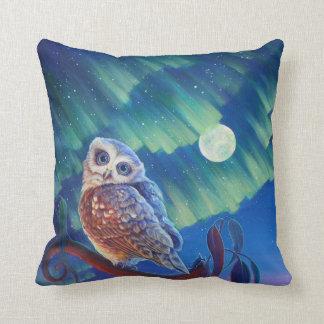 Aurora Owl and Starry Owl. Throw Pillow
