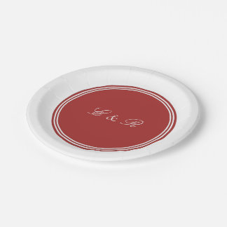 Aurora Red with White Wedding Detail 7 Inch Paper Plate