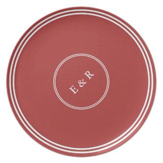 Aurora Red with White Wedding Detail Dinner Plate