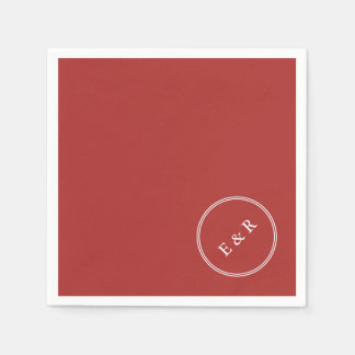 Aurora Red with White Wedding Detail Disposable Napkin